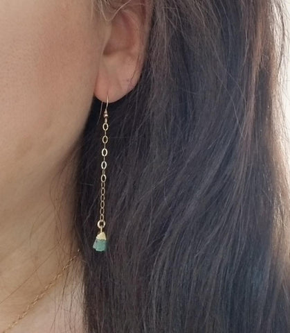 natural emerald earrings, May birthday gift, best friend gift, boho style, dainty earrings