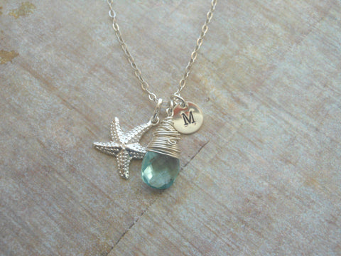 Personalized Starfish Necklace with Gemstone