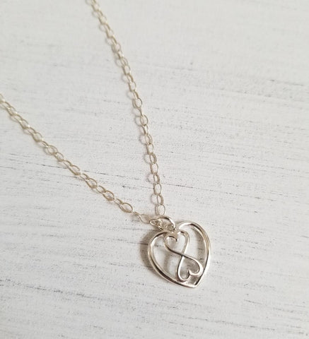 gift for sister, stepsister, dainty heart necklace, galentine gift, Fabulous Creations, infinity necklace