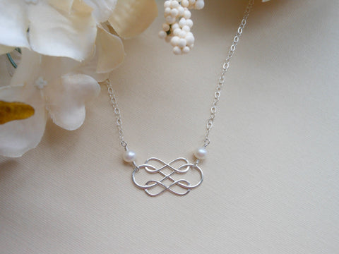 Bridesmaid Necklace, Sterling Silver Infinity Necklace, Freshwater Pearls