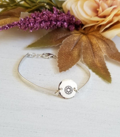 custom made jewelry, skinny bangle, Sunflower bracelet, everyday bracelet,