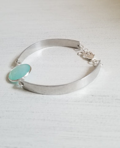 Aqua Chalcedony Bangle Bracelet, Gemstone Bangle Cuff