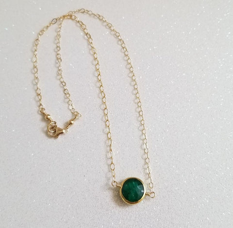 Dainty Gold Emerald Choker Necklace