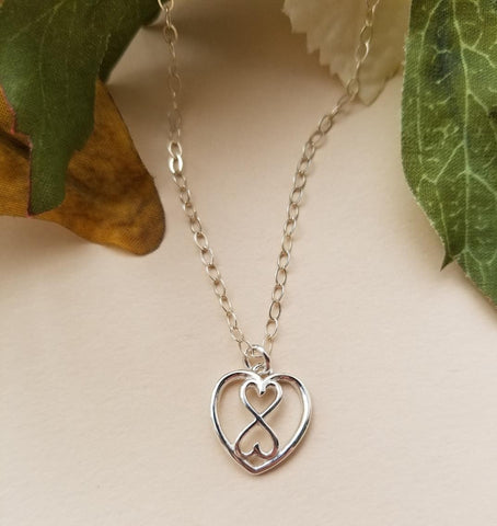 Sister Necklace, Sterling Silver Infinity Heart Necklace
