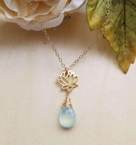 dainty gold necklace, aqua chalcedony necklace, gift for sister, yoga jewelry