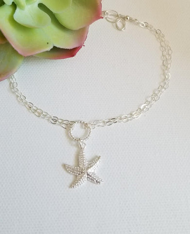starfish anklet, birthday gift for her, sterling silver anklet