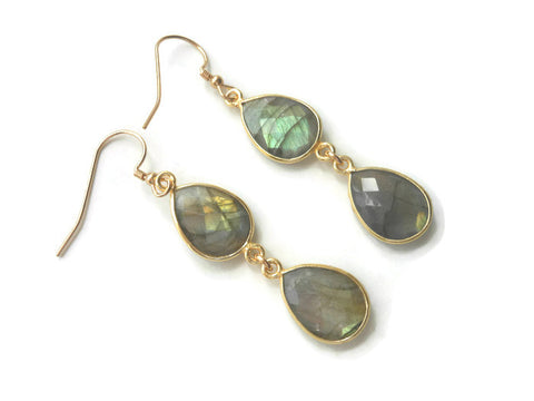Gold Labradorite Earrings