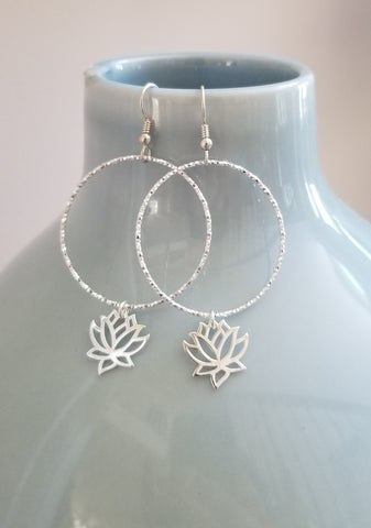 Sterling Silver Diamond Cut Hoop Earrings with Lotus Flower