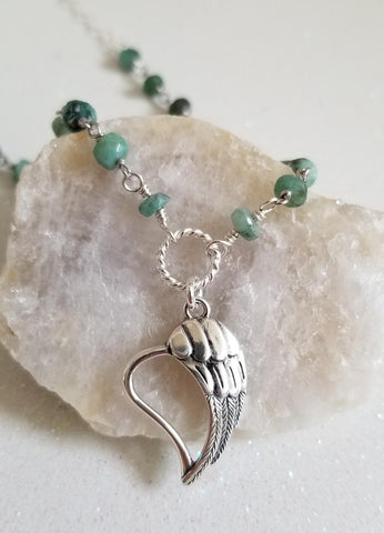 Raw Emerald Angel Wing Heart Necklace