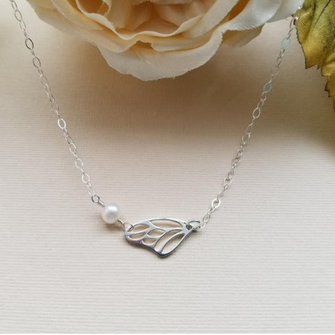 Sterling Silver Butterfly Wing Necklace with Freshwater Pearls