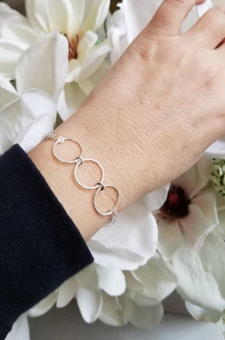 sterling silver circle bracelet, double strand bracelet, gift for best friend, bridesmaid gift
