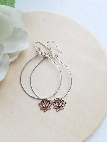 Silver Hoop and Lotus Flower Earrings, Statement Earrings