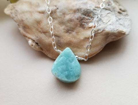 Raw Amazonite Necklace, Delicate Layering Necklace