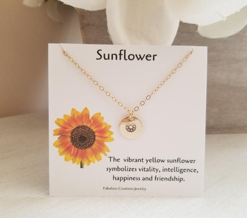 Sunflower necklace, Sunflower gifts, dainty charm necklace, Fabulous Creations Jewelry