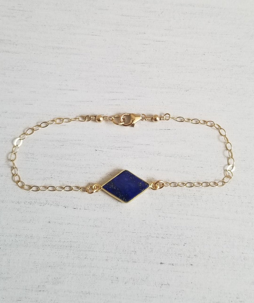 Bridesmaid Bracelet Gift Dainty Gold Blue Lapis Lazuli Bracelet Fabulous Creations Jewelry