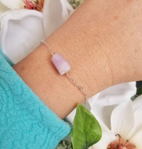 Dainty Kunzite Bracelet, Unique Gift for Her