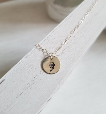 gift for women, small disc necklace, tiny flower necklace, gift for best friend