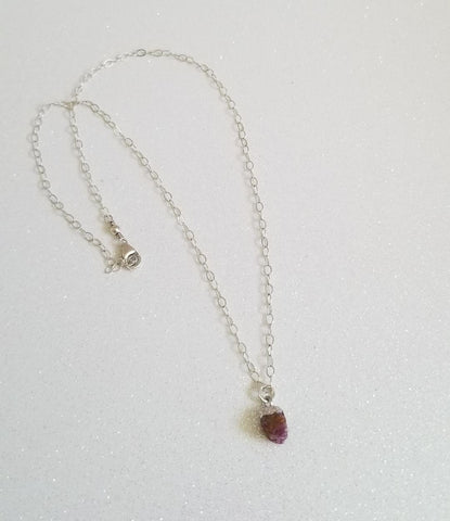 Dainty Raw Ruby Necklace, Gold Filled or Sterling Silver