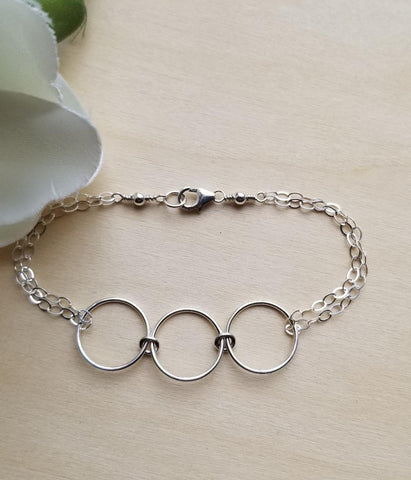 Sterling Silver Eternity Bracelet, Friendship Gift, Three Linked Circles