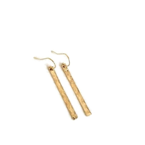 Modern Hammered Bar Earrings, Sterling Silver, Gold or Rose Gold