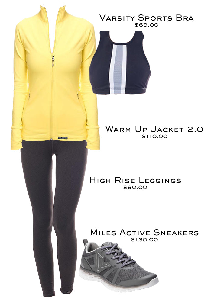 Workout outfit with leggings, sports bra, jacket, and Miles Active sneakers