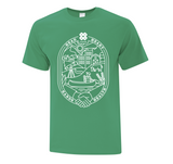 Adult t-shirt in English. White design on green shirt.