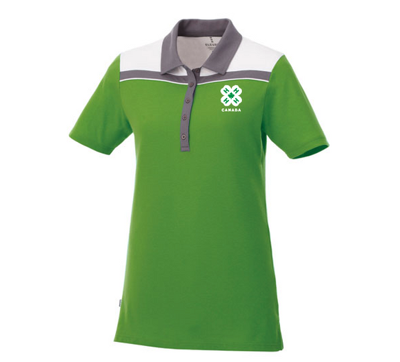 Women's Green and White Polo