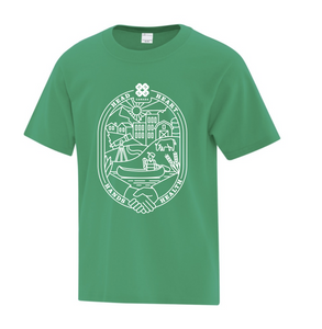 Youth t-shirt in English. White design on a green shirt.
