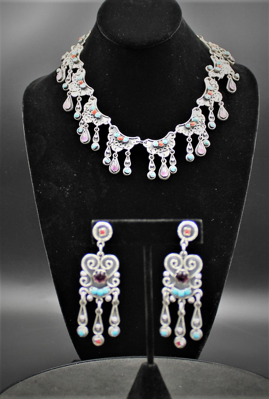 Sterling Silver Taxco Mexico Necklace Set