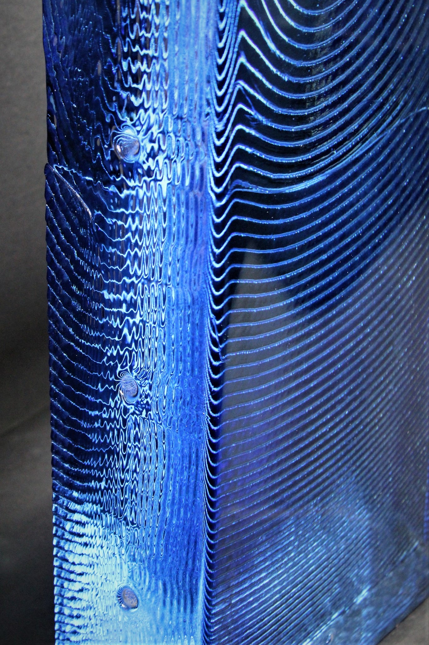 Blue Glass Monolith from the Mid Century Era                ON HOLD