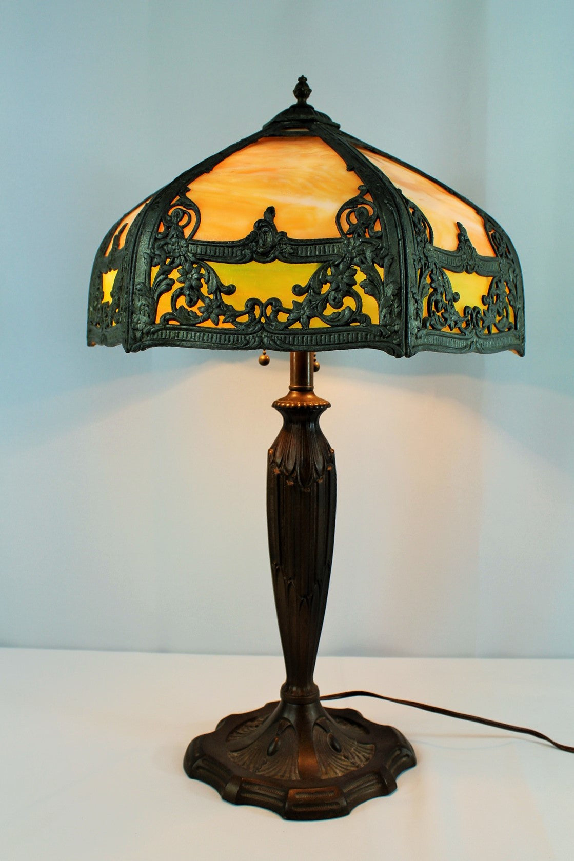 Early 20th Century Stained Glass Lamp And Bronze Stand