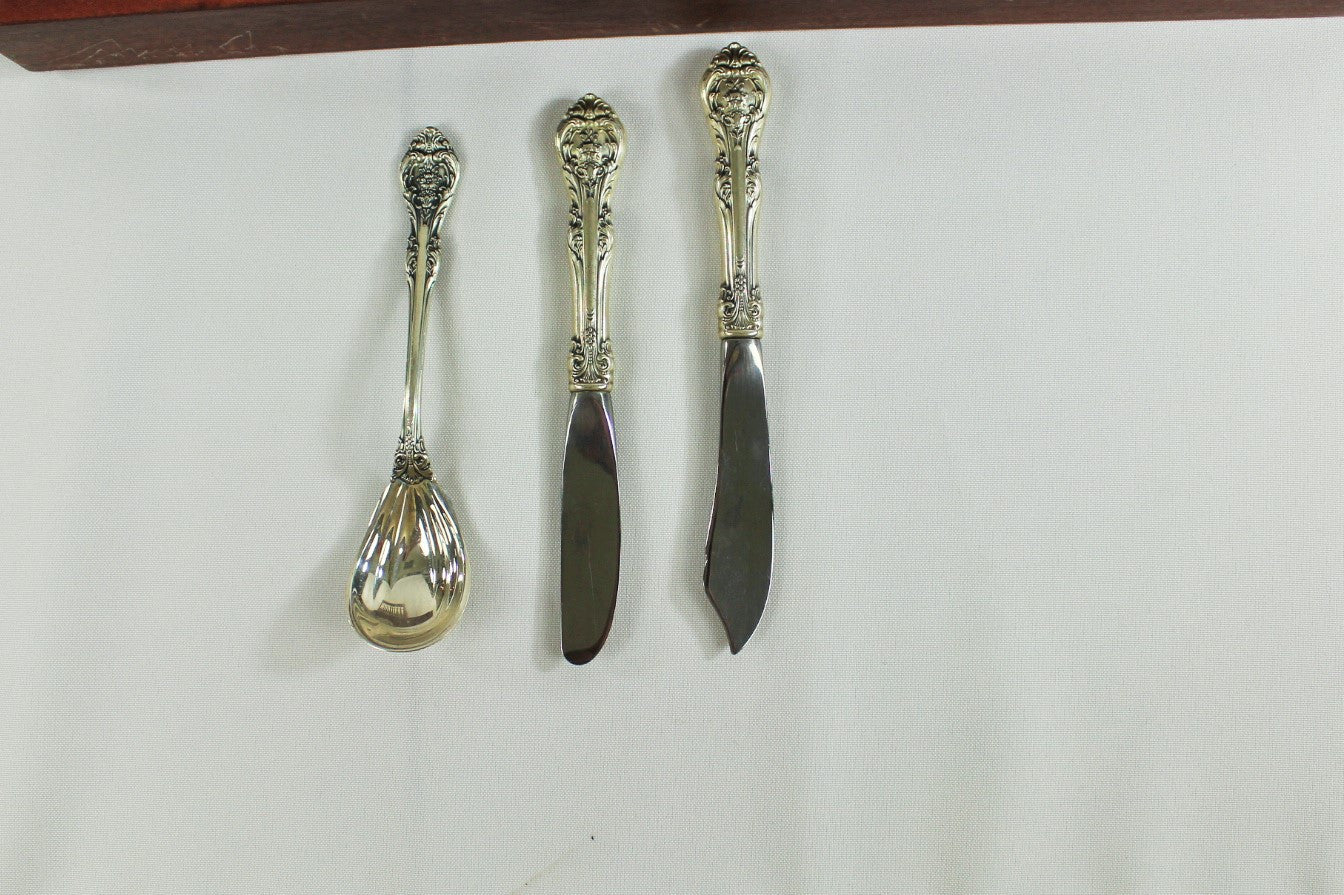"74 Piece Set of Gorham, ""King Edwards"" Pattern Sterling Silver Flatware Setting For 12"