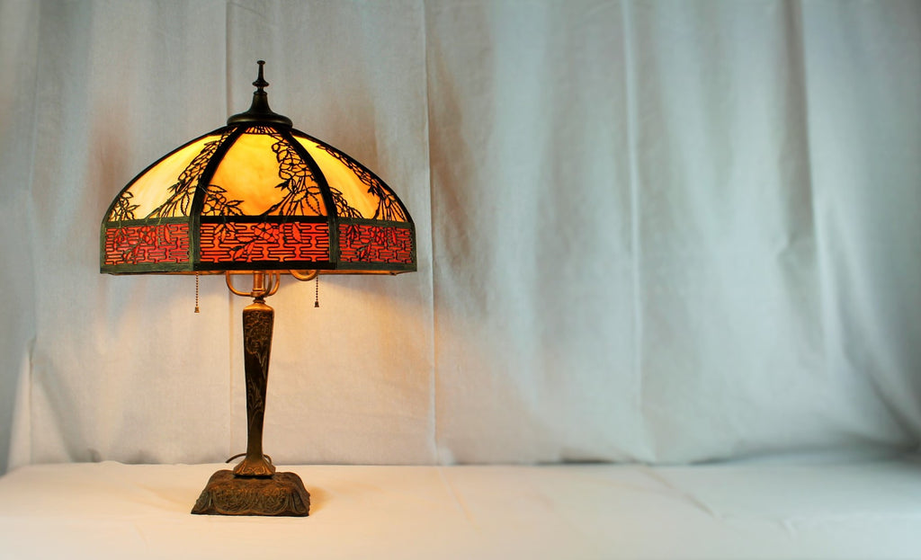 Stained Glass Lamp and Base. 1910-1920's just beautiful.  Octogon Shade SOLD