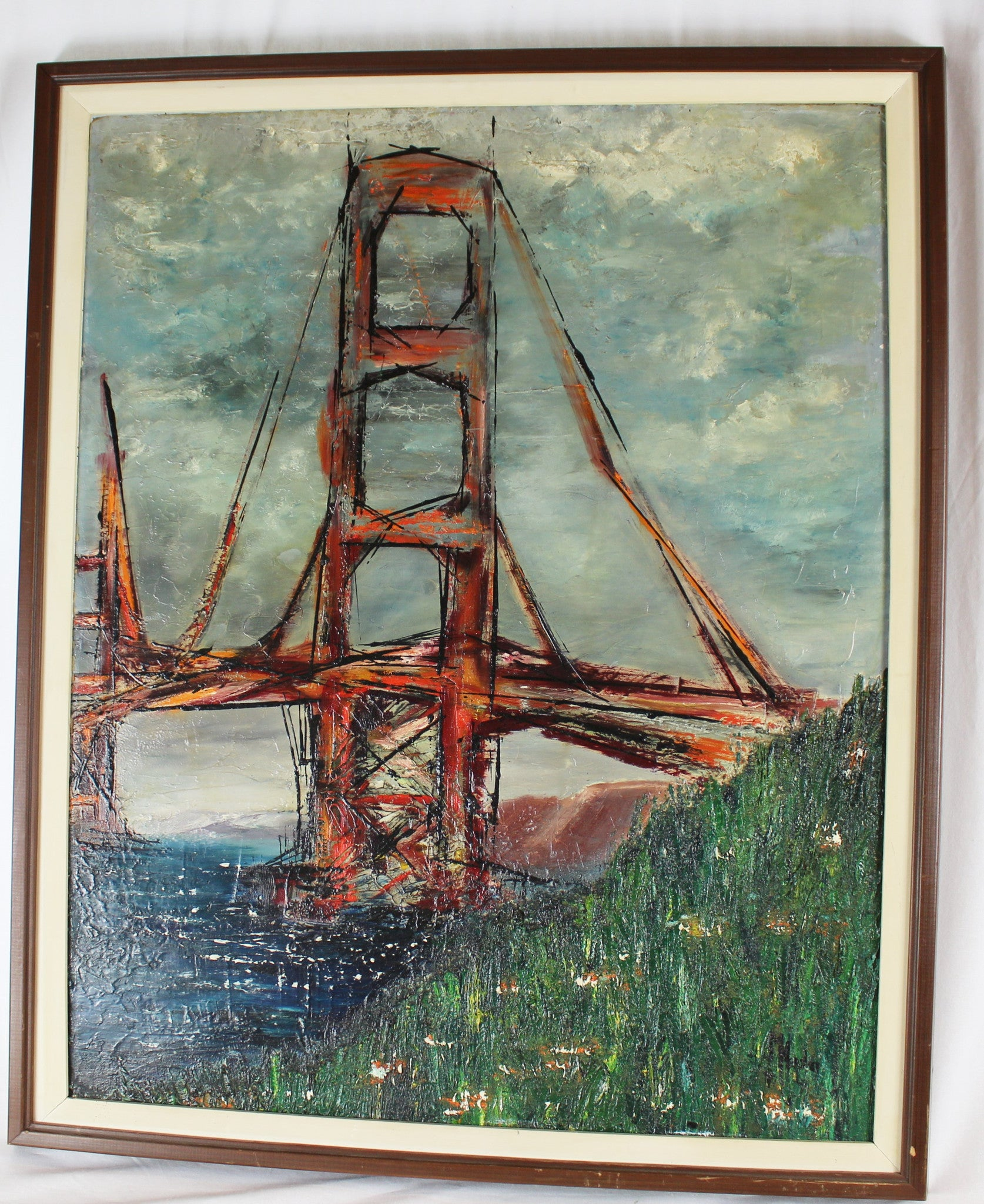 "Titled ""The Gate"" Amy Heasley signed (unlisted) Marin side of bridge 1964"