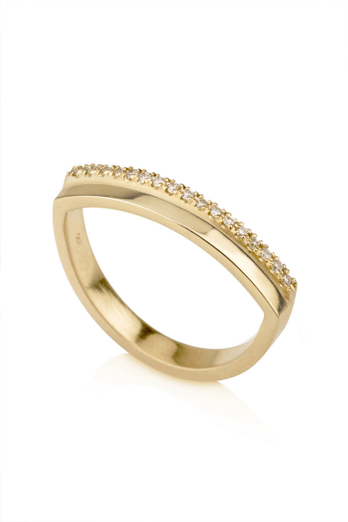 Penelope Ring / Minimalistic pave diamonds ring