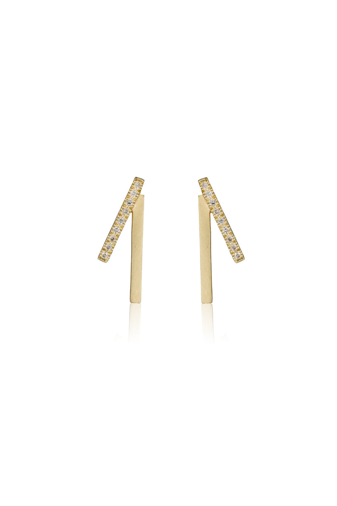 Yvonne earrings / pave diamond earrings