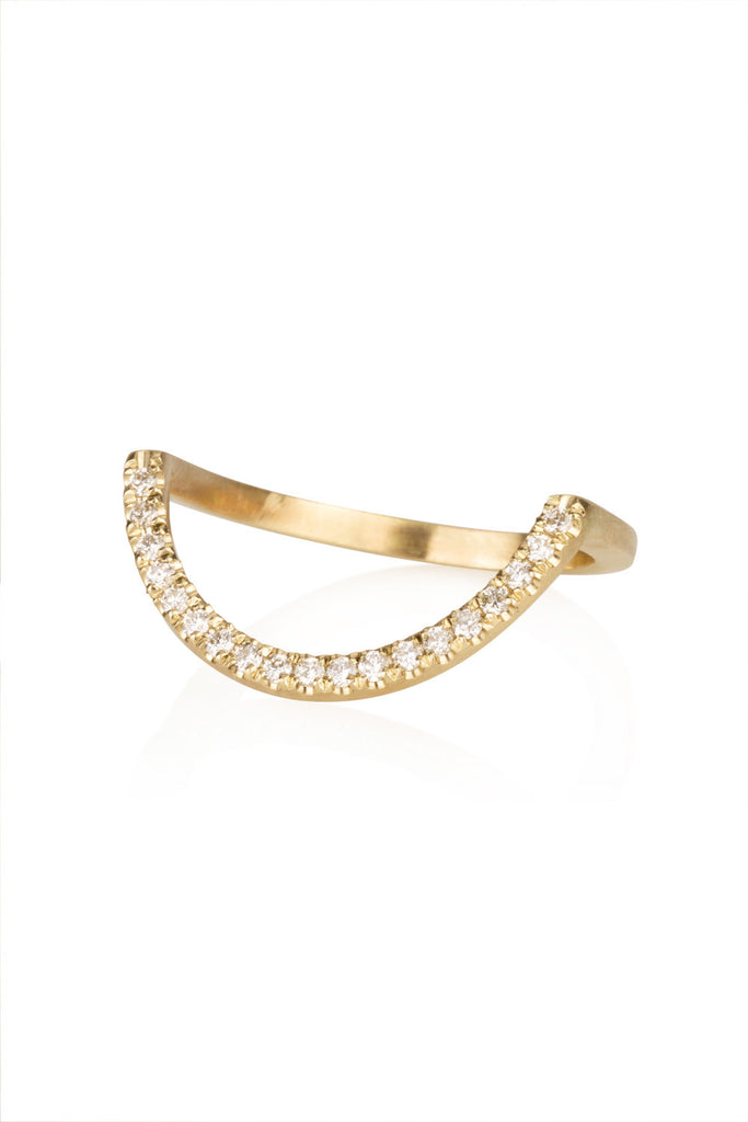 Zahara Ring / Half circle ring with diamonds