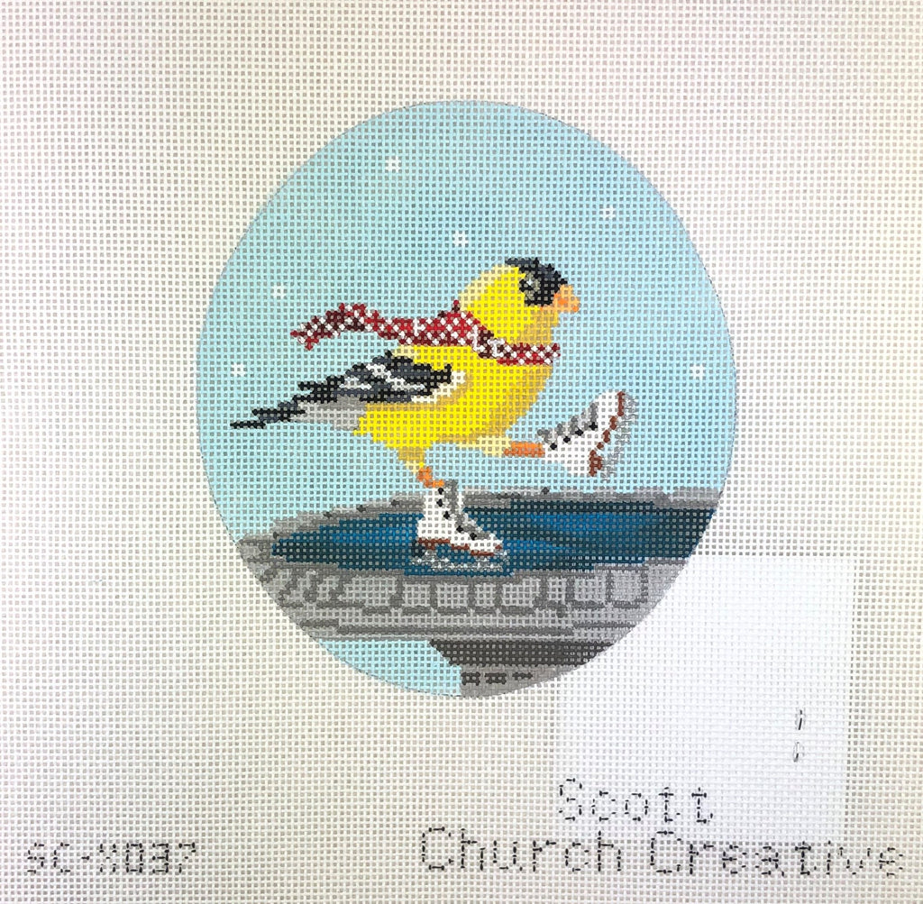 CBK Needlepoint Collections SC-XO37 Yellow Bird Ice Skating