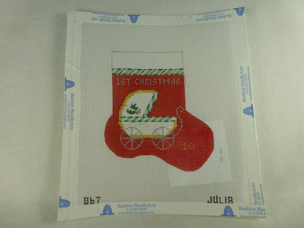 Julia's Needleworks 067-R Christmas Baby Carriage