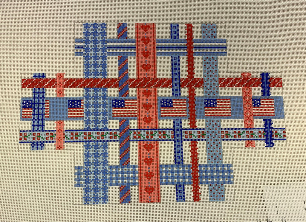 Kate Dickerson 214 Woven Ribbons - Red, White, and Blue