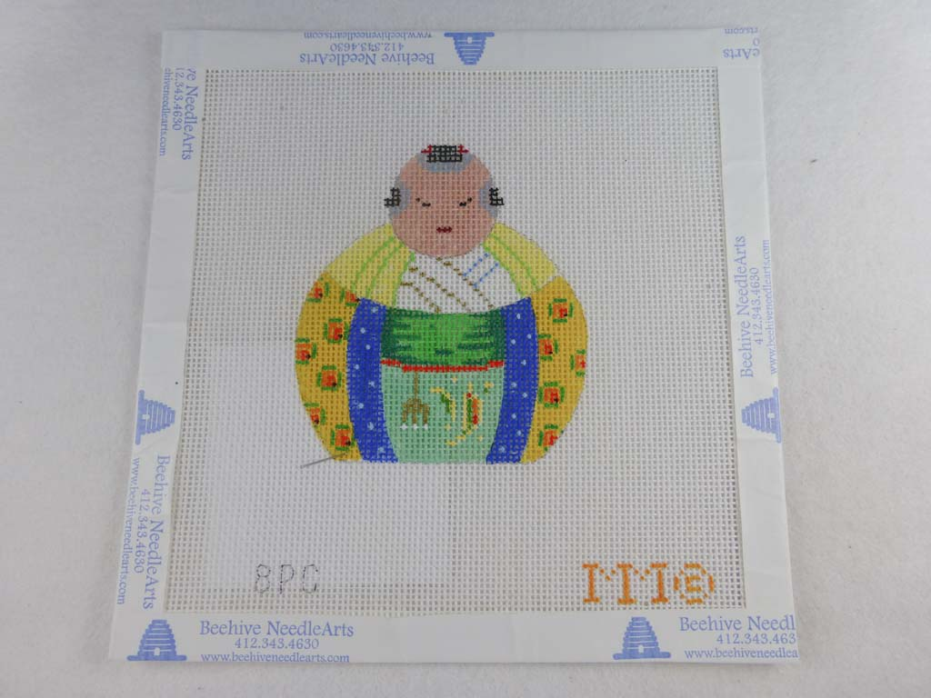 MM Designs Needlepoint 8PC Yellow/ Blue Asian Figure