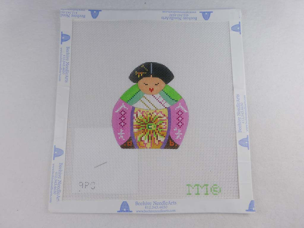 MM Designs Needlepoint Pink/Green Asian Figure