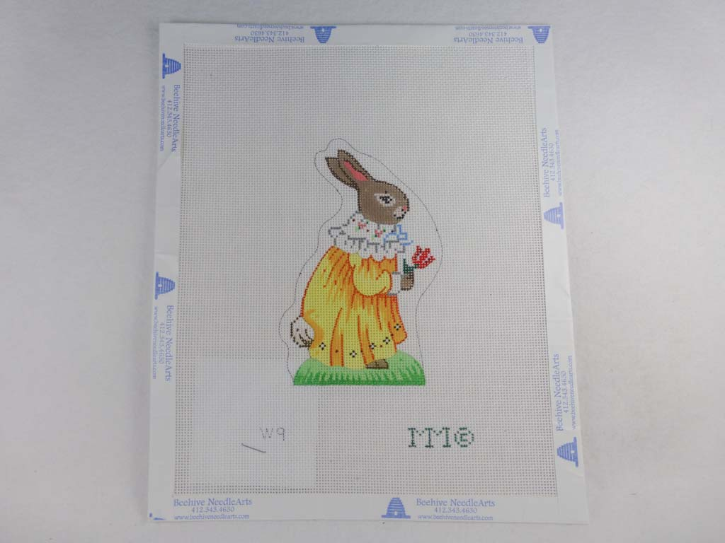 MM Designs Needlepoint W9 Bunny in a Yellow Dress