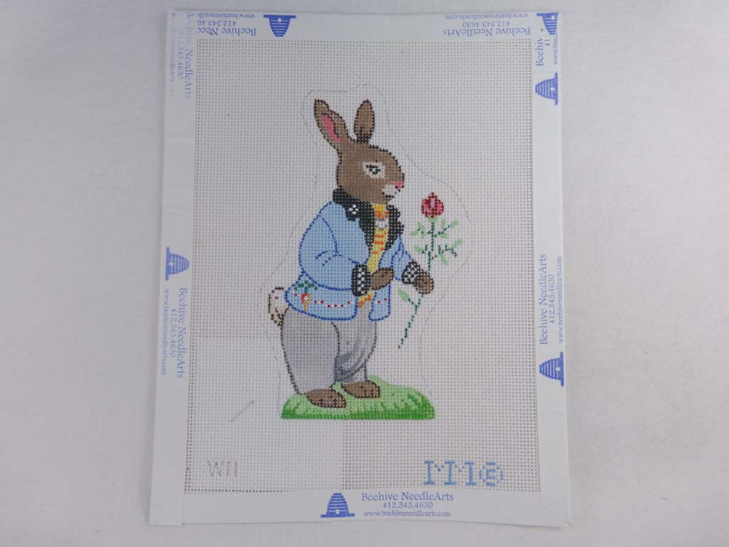 MM Designs Needlepoint W11 Bunny in a Blue Coat