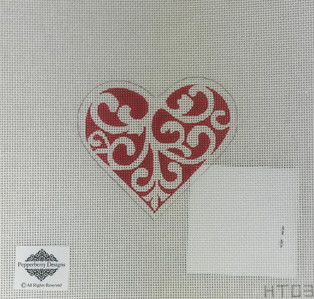 Pepperberry Designs 256 Red and White Scroll