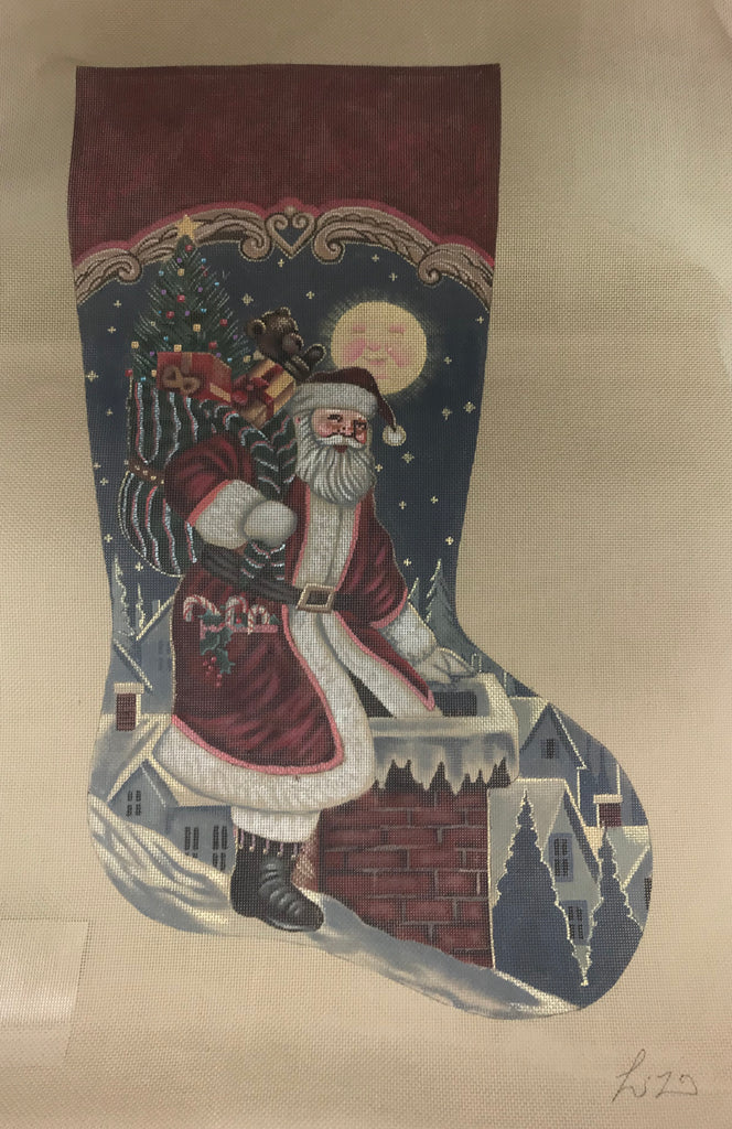 Susan Roberts Needlepoint Designs Santa Sneaks In