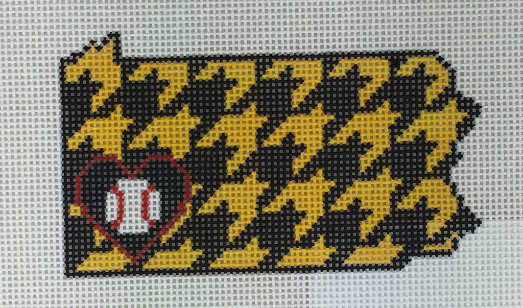 Kimberly Ann Needlepoint L5-PA Pittsburgh Houndstooth Baseball