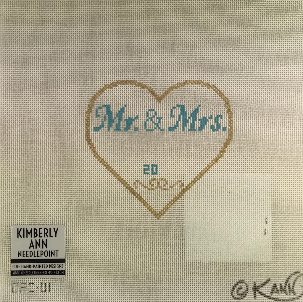 Kimberly Ann Needlepoint OFC01 Mr. & Mrs. Heart