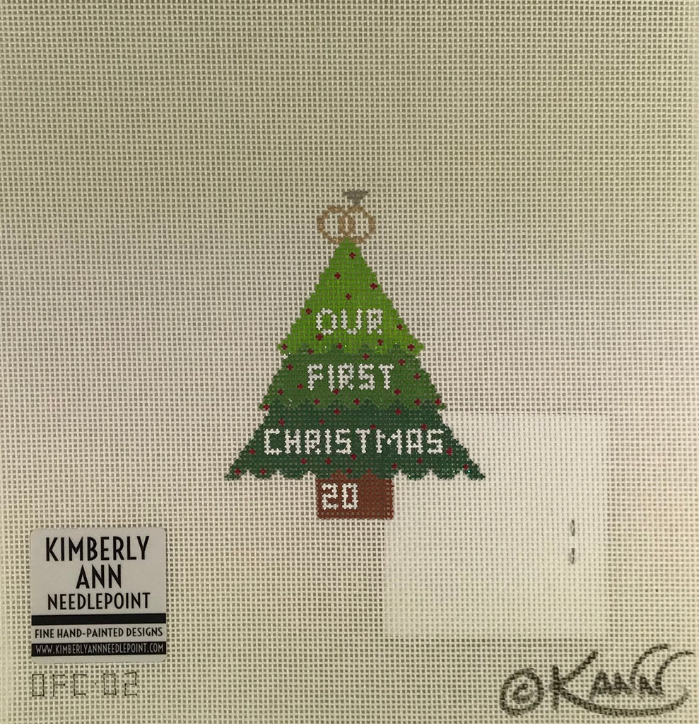 Kimberly Ann Needlepoint OFC 02 Wedding Rings Xmas Tree