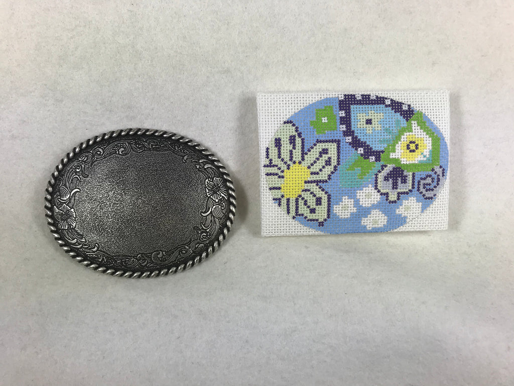 Floral Blue Belt Buckle - Unique NZ Designs